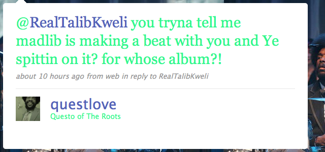questlove tweet to kweli (madlib, doom, yeezy)